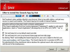 Caution installing Java Updates - Previous Java Update defaulting to install Ask Search