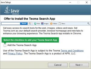 Caution installing Java Updates - Latest Java Update Install Offer Teoma Search App
