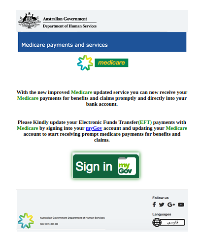 Example Medicare Scam Email